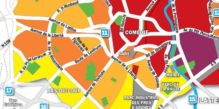 Carte des prix immo de Montpellier.